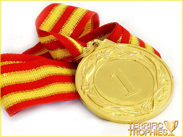 50mm Gold 1st Place Medal With Ribbon Terrific Trophies
