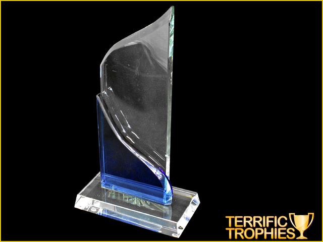 Clear And Blue Teardrop Glass Trophy